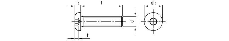 Винт с полукруглой головкой и внутренним шестигранником ISO 7380-1 из нержавеющей стали