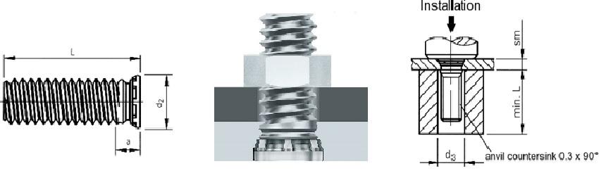 Шпилька запрессовочная резьбовая с уменьшенным диаметром основания