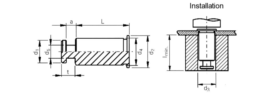 Защелка (штифт) запрессовочная SKC дистанционная KEYHOLE