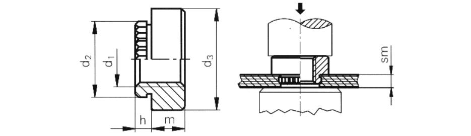 Гайка запрессовочная резьбовая для печатных плат М2-М5