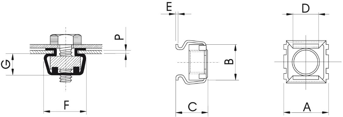 Гайка закладная клетевая квадратная кузовная М3-М12
