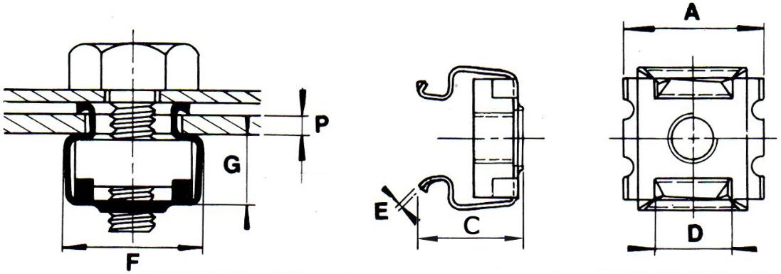 Гайка закладная клетевая квадратная кузовная электропроводимая М4-М12