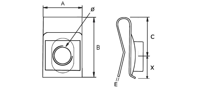 Гайка-клипса закладная клетевая U-образная М8