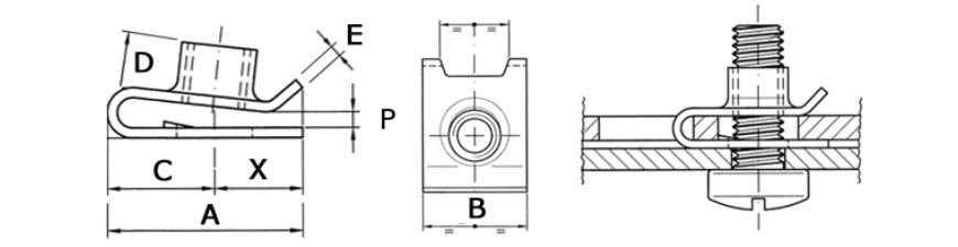 Гайка-клипса закладная клетевая U-образная BUT 200 М4-М6