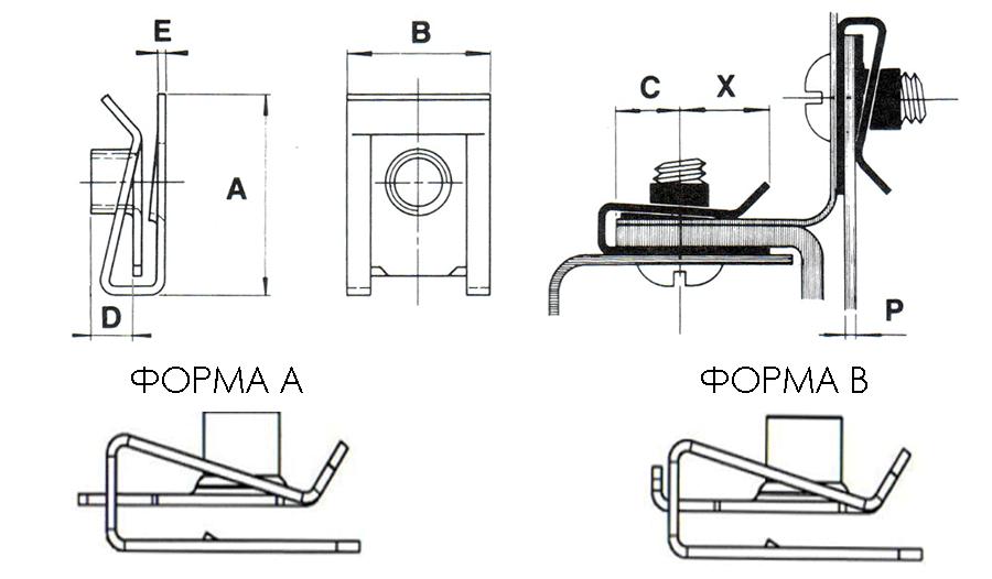Гайка-клипса закладная клетевая U-образная BUT 310 410 М4-М8