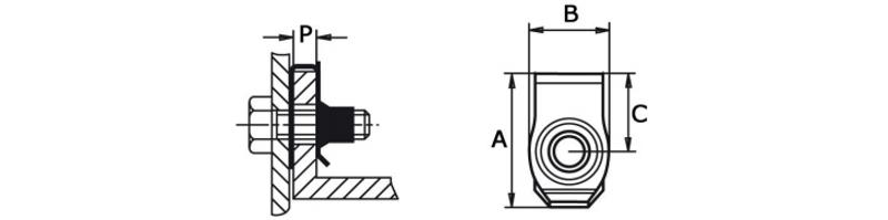 Гайка-клипса закладная клетевая U-образная BUT 610 М-М8