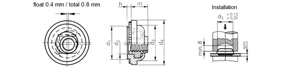 Гайка запрессовочная самостопорная с плавающим сердечником M3-M6