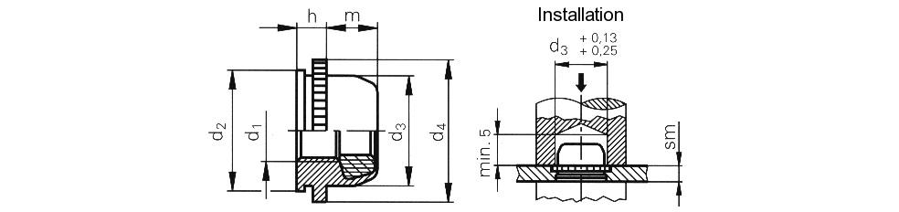 Гайка запрессовочная самостопорная с полиамидной шестигранной вставкой M3 - M5