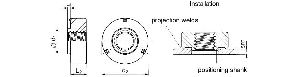 Гайка запрессовочная для точечной (контактной) сварки M3-M10